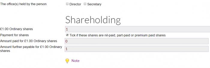 Nil paid shares